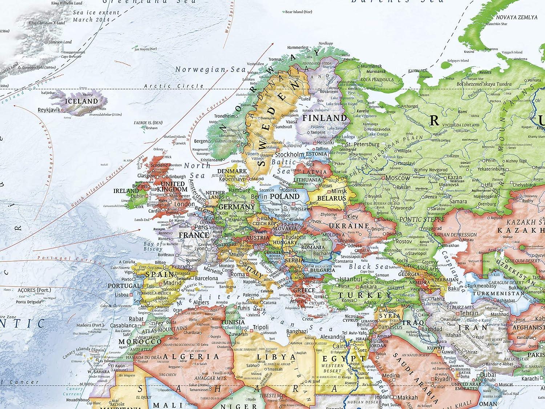 J.Bauer Carte du Monde Politique Anglais /à jour 2015