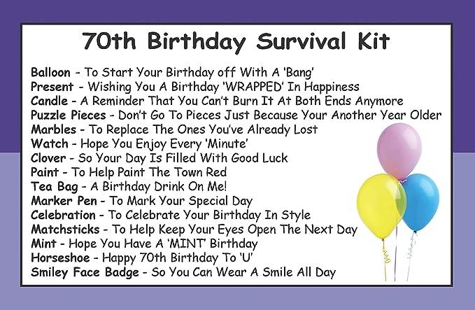 Kit de Supervivencia de 70 cumpleaños en una Lata. Regalo ...
