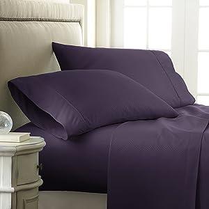 ienjoy Home 4 Piece Hotel Collection Embossed Checker Sheet Set, Queen, Purple