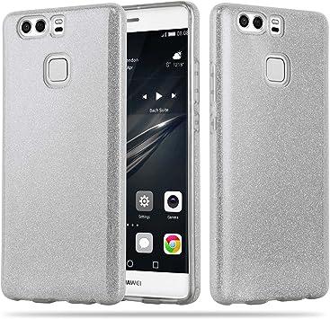 Cadorabo Funda para Huawei P9 Plus Funda Hybrid Brillo en Polvo DE Estrellas Plateado – Cubierta Protectora de Plástico e Silicone TPU con Antichoque –: Amazon.es: Electrónica