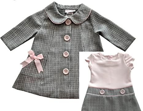 db9408913 Amazon.com: Bonnie Baby Baby Girls' Two Piece Dress and Coat Set: Clothing