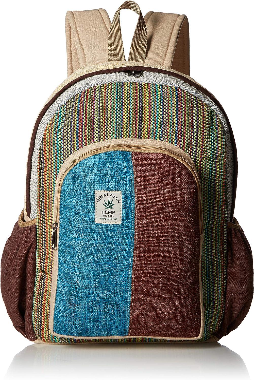 Pure Hemp Stripe Handmade Himlayan Backpack ( THC FREE) with Laptop Sleeve - Fashion Cute Travel School College Shoulder Bag /