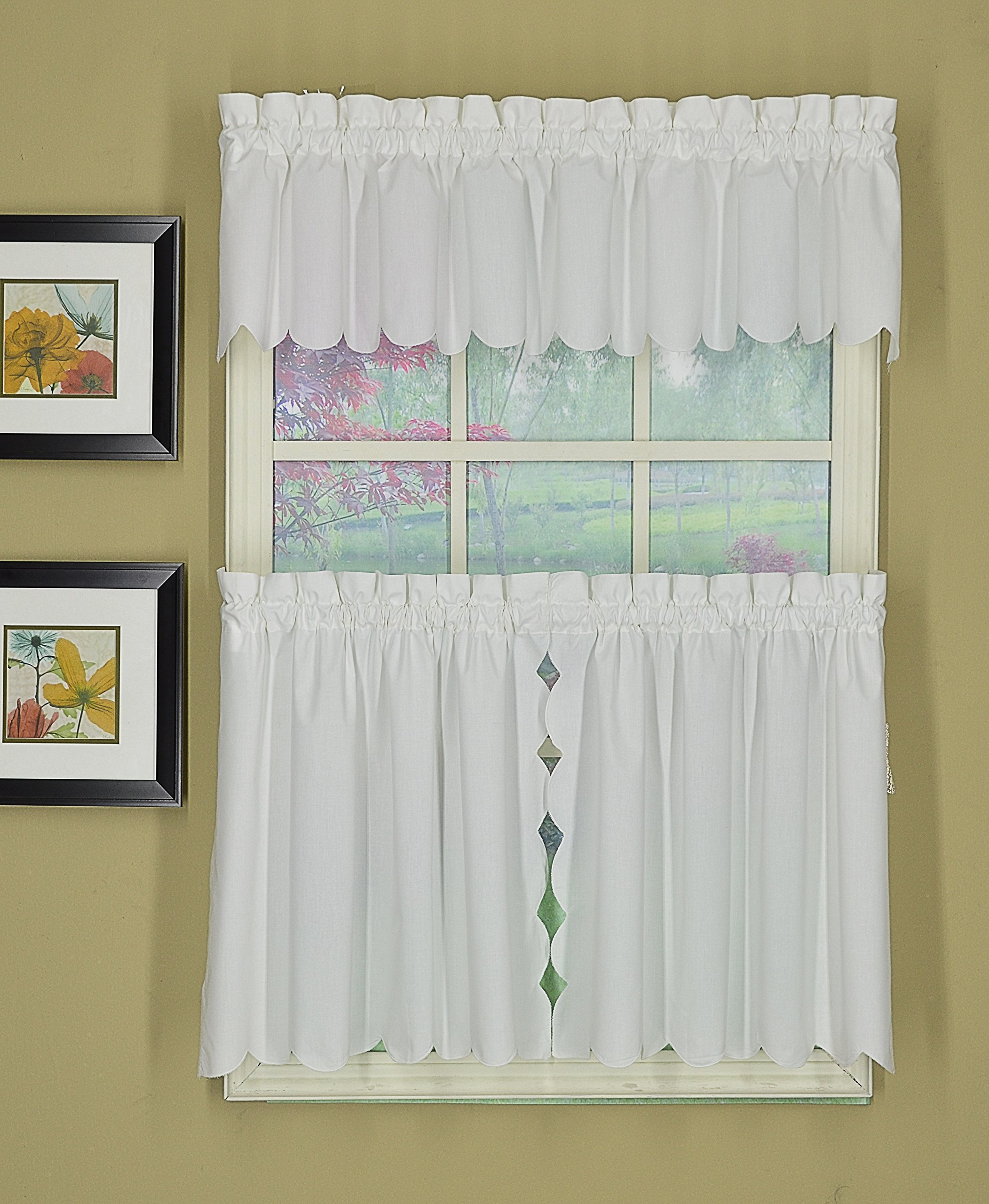 Today's Curtain CA2003K Orleans 36'' Tier Pair with Tiebacks Tambour Scallop Edge Curtain, White, 60'' W x 36'' L/TB