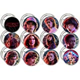 "Stranger Things Buttons Party Favors Supplies Decorations Collectible Metal Pinback Buttons Pins, Large 2.25"" -12 pcs, Eleven Mike Dustin Lucas Will Steve Nancy Jonathon Joyce Jim"