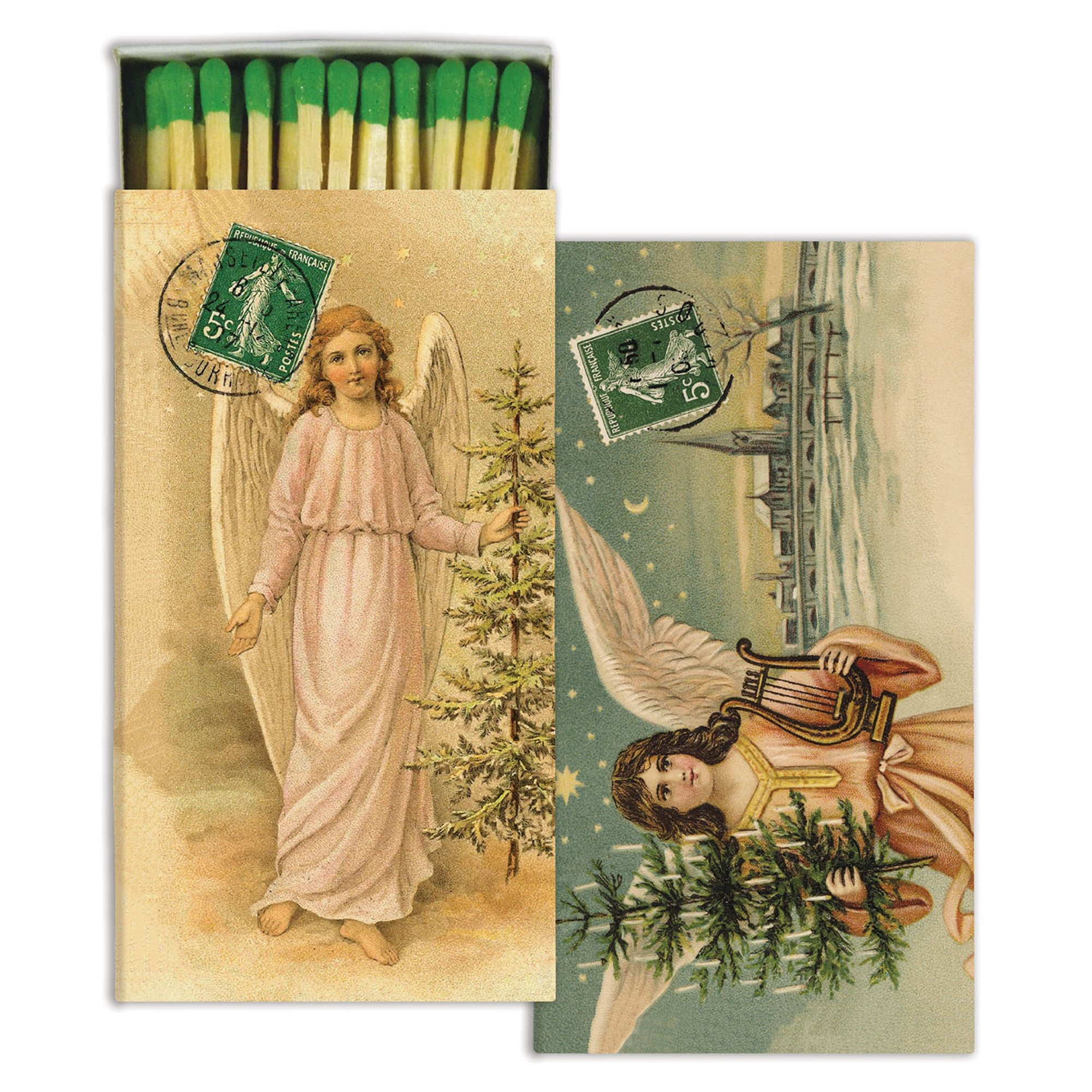 HomArt Decorative Christmas Angels Match Boxes with Long Matches Great for Lighting Candles, Grills, Fireplaces and More | Set of 10 Match Boxes