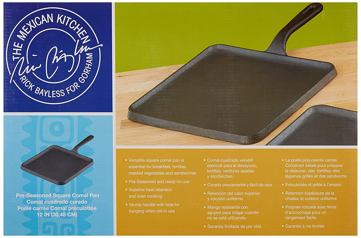 Amazon.com: The Mexican Kitchen by Rick Bayless 12-inch Cast Iron Square Comal Pan, Medium, Black: Kitchen & Dining
