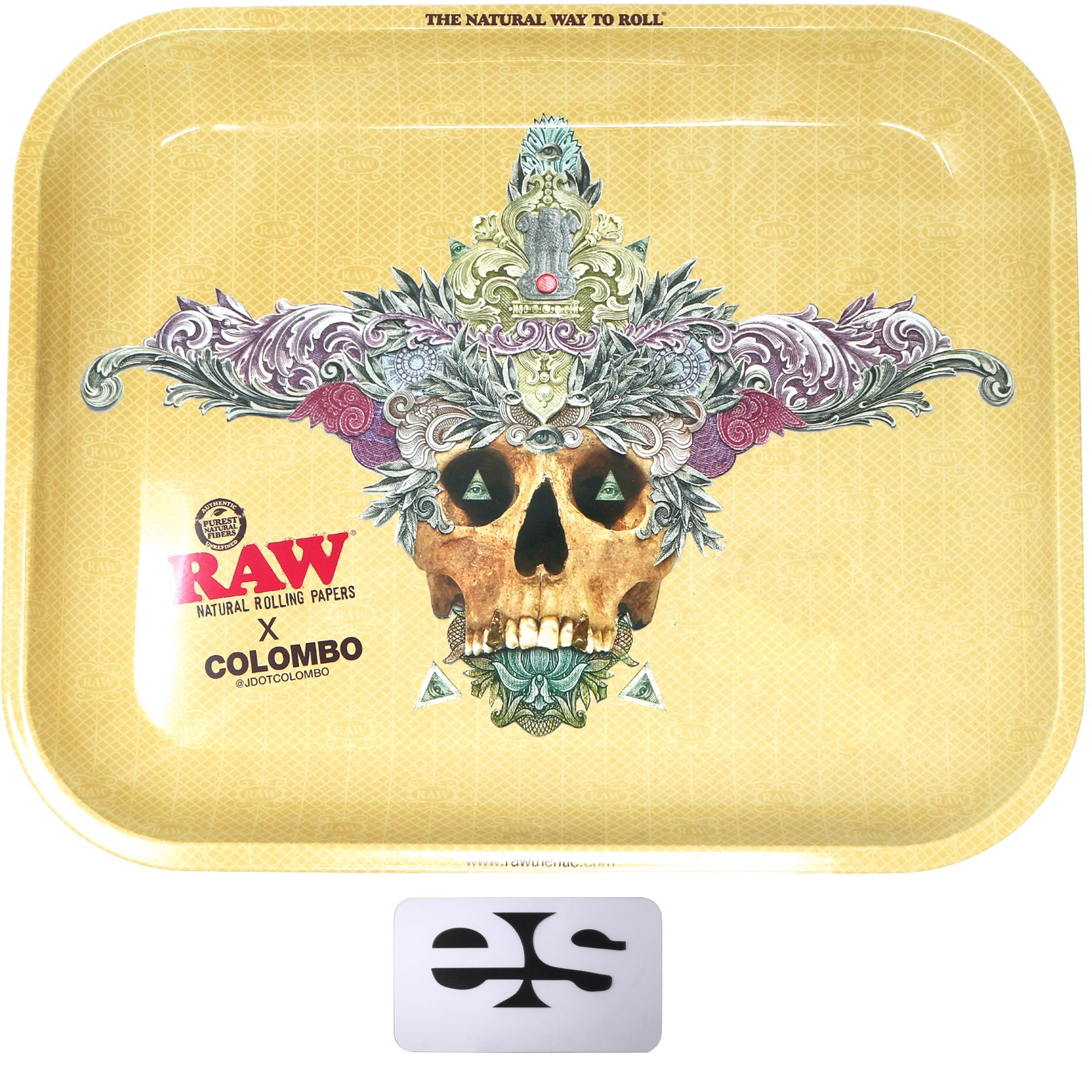 RAW Metal Rolling Tray Ft. Columbo Artist Design (Large) 14'' x 11''