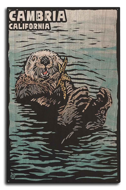 Cambria、カリフォルニア – Sea Otter – Scratchboard 10 x 15 Wood Sign LANT-52716-10x15W B07367ZCDP  10 x 15 Wood Sign
