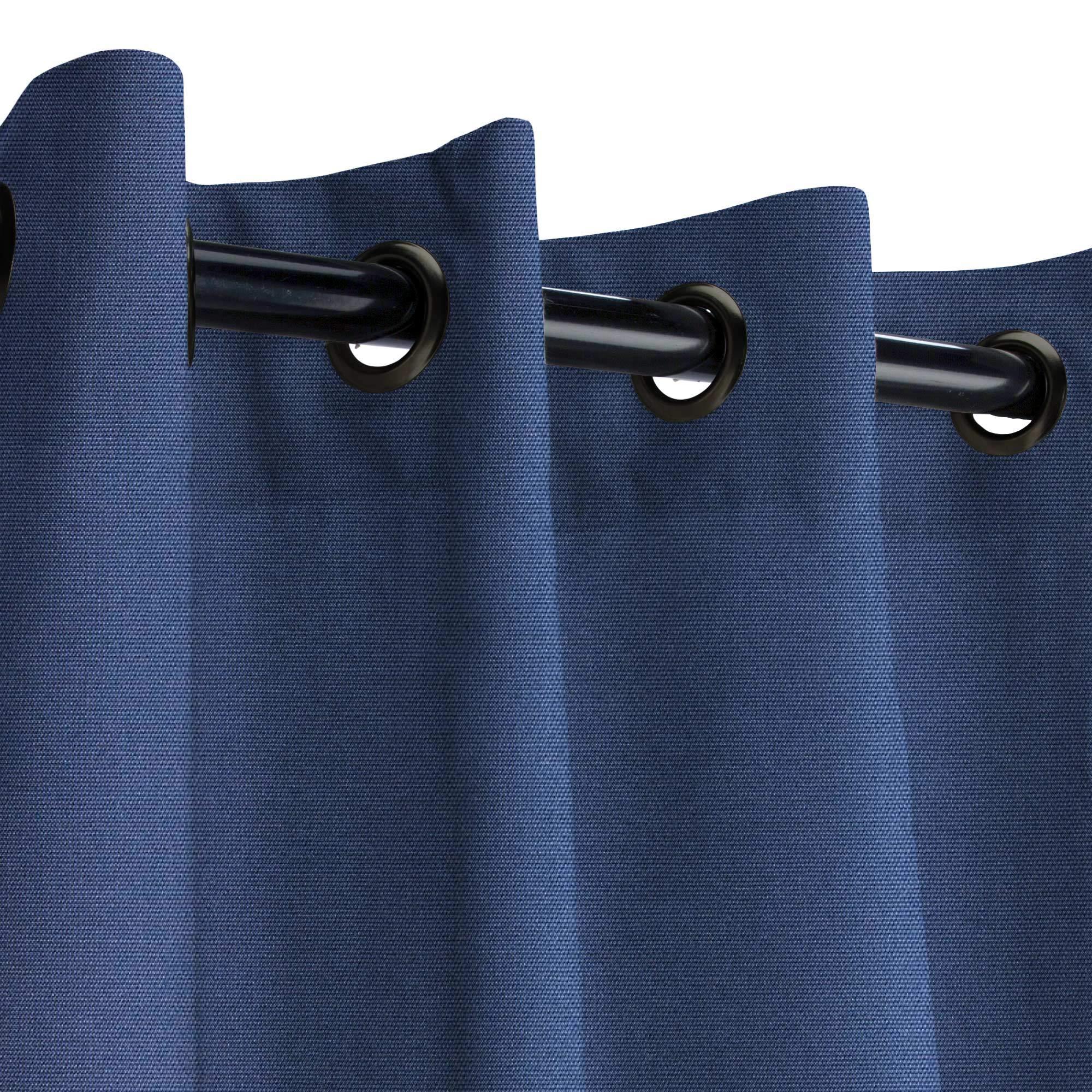 Sunbrella Canvas Navy Outdoor Curtain with Dark Gunmetal Grommets 50 in. Wide x 84 in. Long