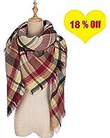 QIXING Women's Tassels Soft Plaid Tartan Scarf Winter Large Blanket Wrap Shawl