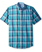 IZOD Men's Big and Tall Short Sleeve Saltwater Plaid Shirt