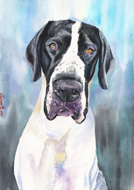 Dog Custom pet Watercolor Original Dog by GeorgeWatercolorArt