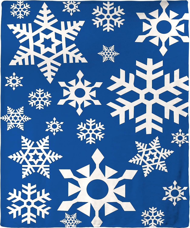 Holiday Christmas Snowflake Plush Throw Blanket 50 by 60 inch ブルー B075MPWC6H ブルー 50 by 60 inch