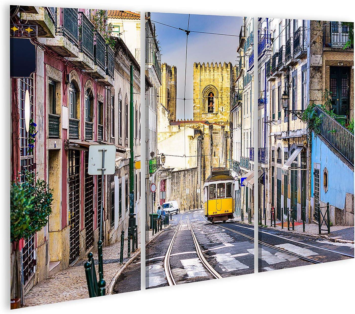 islandburner Cuadro en Lienzo Lisboa, el Paisaje Urbano de Porgugal y el tranvía Cerca de la Catedral de Lisboa. Cuadros Modernos Decoracion Impresión Salon