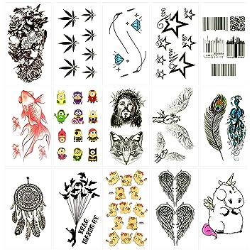 Oottati 15 Hojas Pequeñas Cute Tatuajes Temporales Código Barras ...