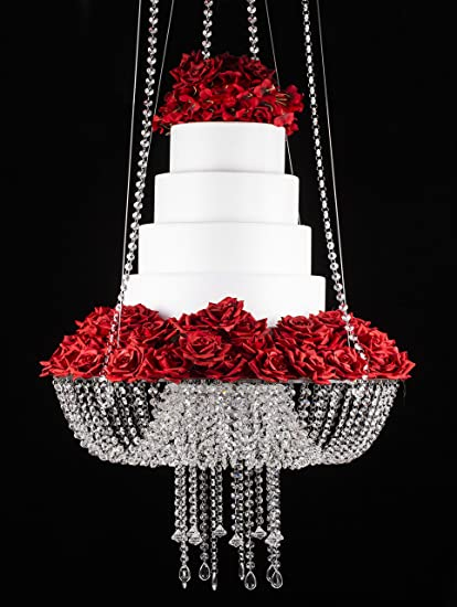 Butterflyevent D18 Crystal Chandelier Style Drape Suspended Swing Cake Stand Round