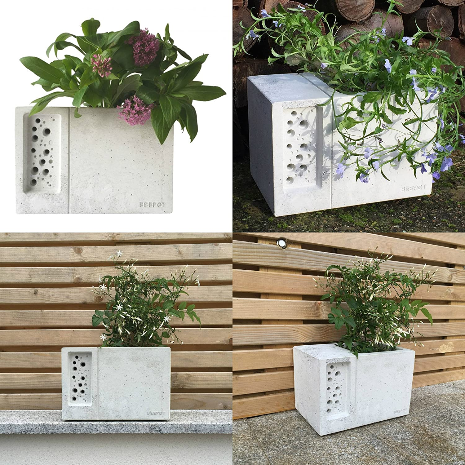 BeePot Flower Pot Nester Hotel Solitary Bee Hive House Green and Blue