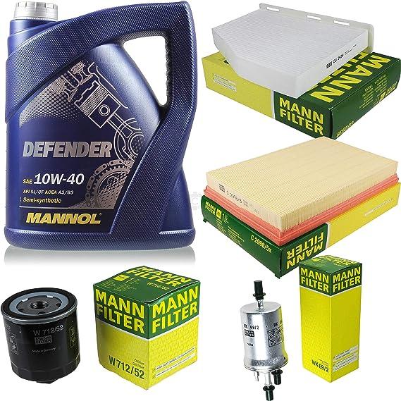 Filter Set Inspektionspaket 5 Liter Mannol Motoröl Defender 10w 40 Api Sl Cf Mann Filter Luftfilter Innenraumfilter Ölfilter Kraftstofffilter Auto
