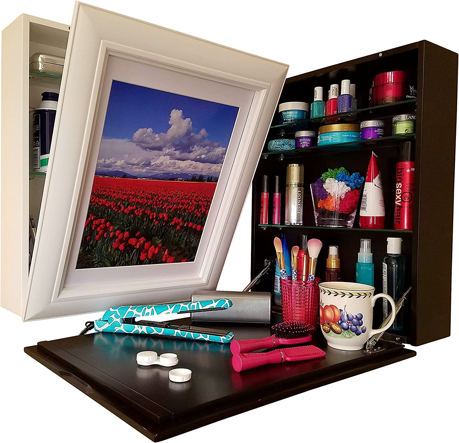 Flip Frame Art to Counter (1) Instant Counter-Top (2) Hidden Storage (3) Easy to Change Art. USES: Cosmetics, Medicine Cabinet, Spices, Office Supplies. Clear Clutter - Space Saver. White