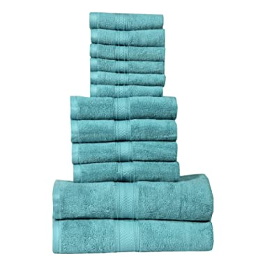 HILLFAIR 12 Piece- 600 GSM Cotton Bath Towels Set - Hotel Spa Towels Set- 2 Bath Towels, 4 Hand Towels, 6 Washcloths- Absorbent Super Soft Cotton Towels Set- Aqua Towel Set- 100% Cotton Towel Set