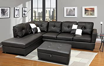 WINPEX 3 Piece Faux Leather Sectional Sofa Set with Free ...