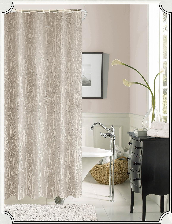 Blue WBSCBL Dainty Home Woodbury Jacquard Shower Curtain