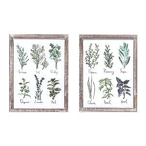Barnyard Designs Vintage Herb and Spices Botanical Wood Framed Plaque Bundle