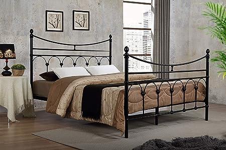 ROYALE COMFORT Atlanta Estilo Victoriano Negro Marco metálico para Cama Doble tamaño King Tradicional para somier Dormitorio Muebles (5ft King Size)