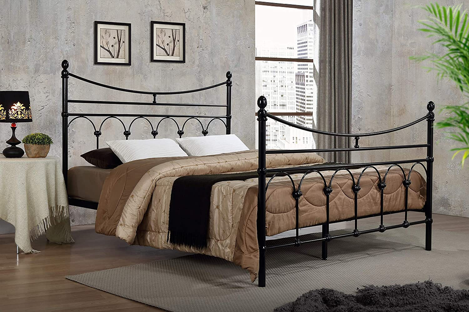 Atlanta Victorian Style Metal Bed Frame Black Double King Size Traditional Bedstead Bedroom Furniture (5FT King Size) ROYALE COMFORT