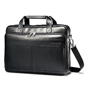 Samsonite Luggage Leather Slim Briefcase, Black