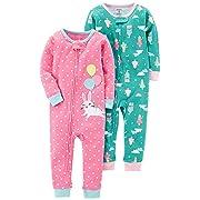 Carter's Baby Girls' 2-Pack Cotton Footless Pajamas, Bunny/Princess, 12 Months