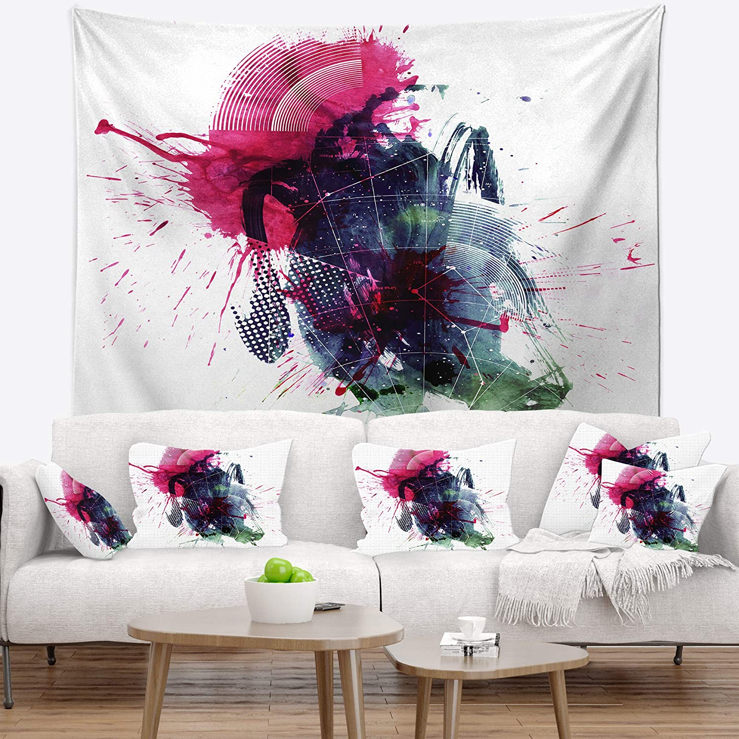 Medium: 39 in Created On Lightweight Polyester Fabric x 32 in Designart TAP7478-39-32 Multicolor Stain Abstract Blanket D/écor Art for Home and Office Wall Tapestry
