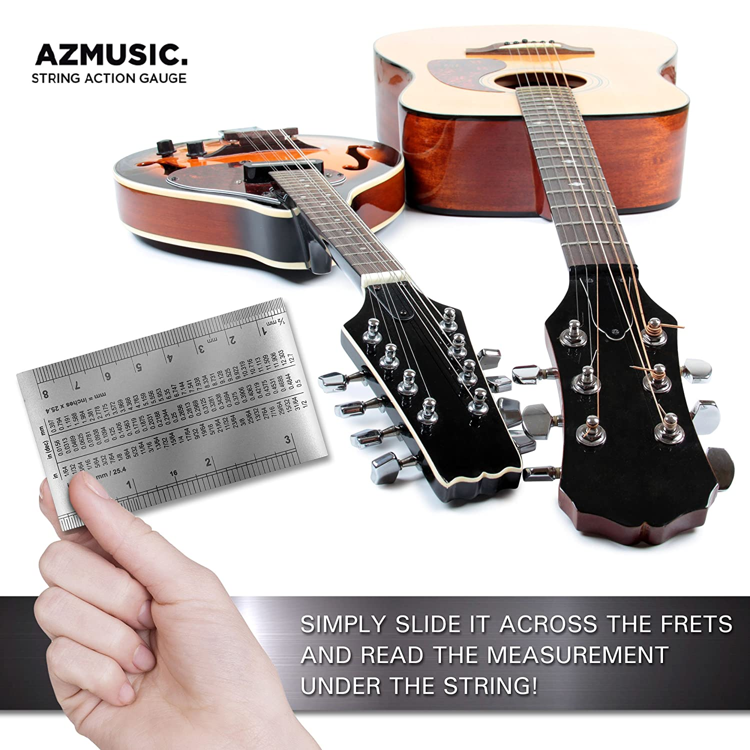 azmusic string action ruler gauge tool for accurate
