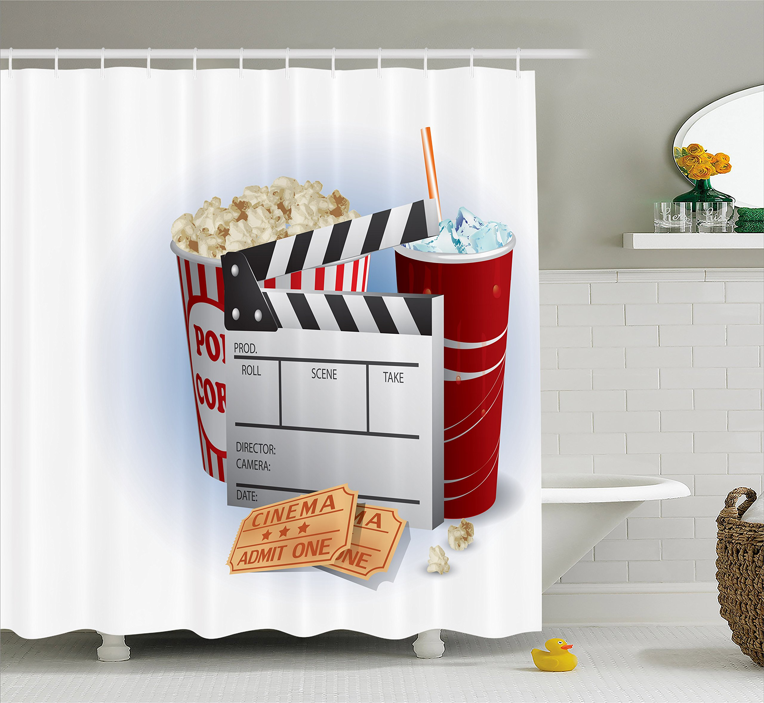 Ambesonne Movie Theater Shower Curtain, Soda Tickets Fresh Popcorn and Clapper Board Blockbuster Premiere Cinema, Cloth Fabric Bathroom Decor Set with Hooks, 70 inches, Multicolor