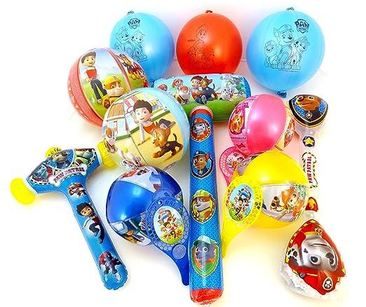 TB TOYS Patrulla Canina Kit de Fiesta de cumpleaños con 11 Juguetes hinchables para los niños