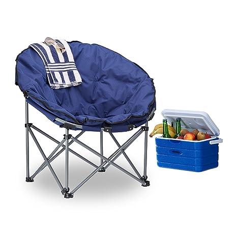 Relaxdays Silla Camping Plegable XXL Moon Chair con Bolsa de ...