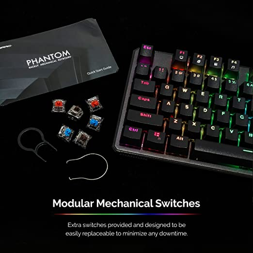 Tecware Phantom 87 - Teclado mecánico con Llave, LED RGB Outemu Blue (US Layout ANSI): Amazon.es: Electrónica