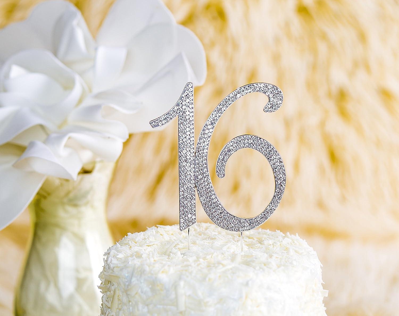 4.1 X 4.5 4.1 X 4.5 GA-NB16S LOVENJOY with Gift Box Crystal Rhinestone Sweet 16 Cake Topper for 16th Birthday or Wedding Anniversary Decoration Silver