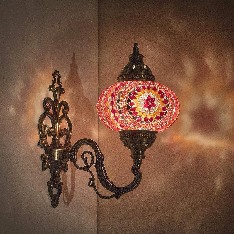 "Handmade Wall Lamp Mosaic Shade, 2019 Stunning 16.5"" Height - 7"" Globe, Turkish Moroccan Glass Lantern Arabian Bedside Home Decoration Light Bronze (Tangerine)"