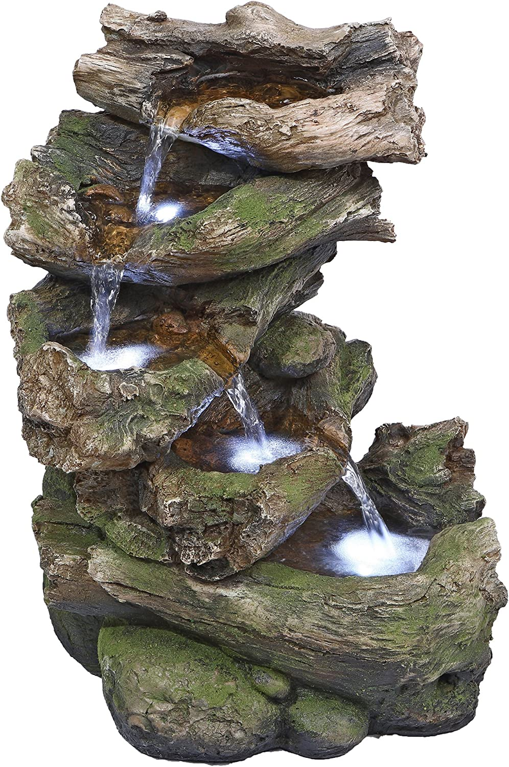Water Fountain with LED Light - Mesquite Falls Garden Decor Fountain - Outdoor Water Feature