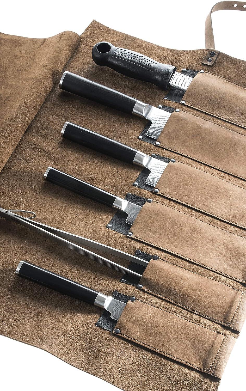 6 Einzelk/öcher hergestellt in Deutschland Bio Leder von Wunschleder-Home braun Rolltasche f/ür K/öche Messertasche K/üchenmesser Messerrolle f/ür Profis