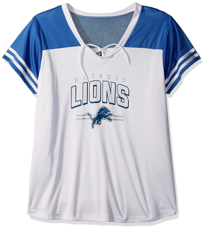 4cd35863d Amazon.com   Profile Big   Tall NFL Detroit Lions Adult Women NFL Plus  S Lace Up V Neck Tee