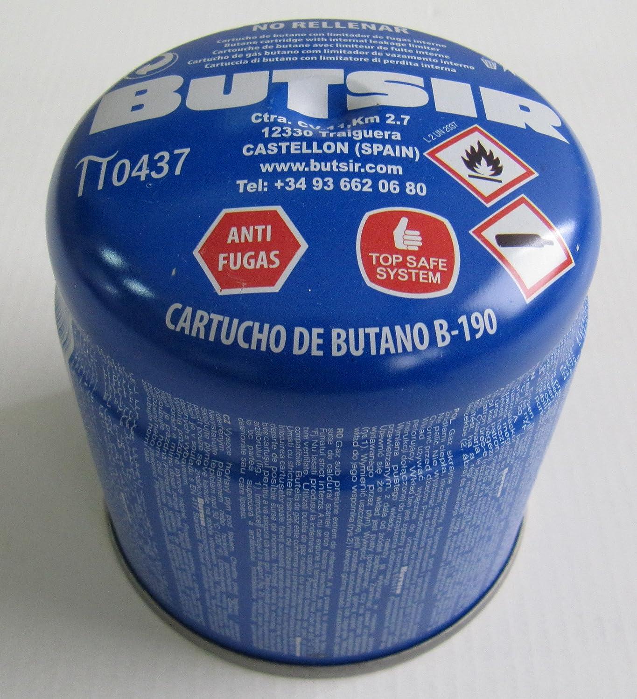 Pack de 5 - cartucho de gas 190 gr – bombona perforable con limitador de fugas – botella camping gas - garantía y calidad Butsir S. L.