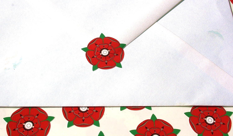 60 English Red Lancashire Rose Envelope Seal Stickers: Amazon.co.uk ...