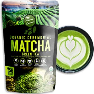 Pure Organic Ceremonial Grade Matcha Green Tea Powder Extract – 100% Natural Energy Booster from 1500+ Antioxidant – for Latte, Keto Drinks, Baking & Weight Loss by Matcha Organics, 4oz / 113g