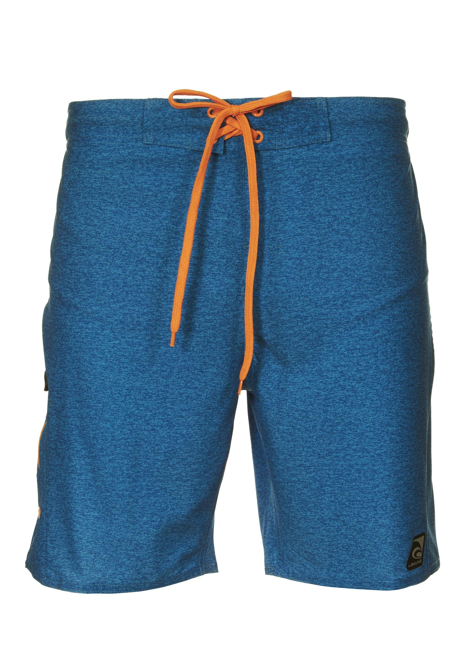 Laguna Mens Stretch Boardshort Swim Trunks Bathing Suits Blue/Heather X-Large