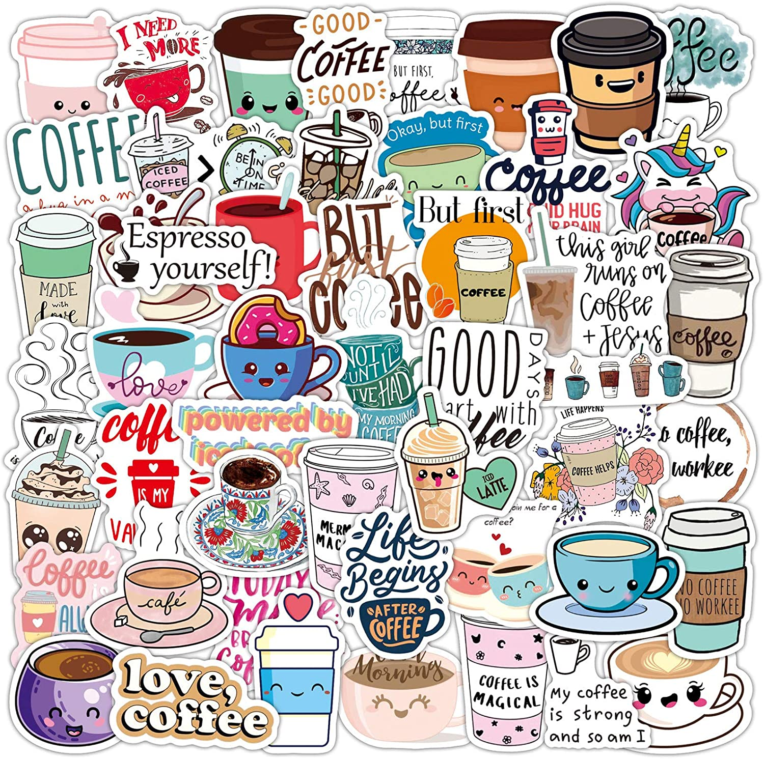 Cute Coffee Stickers Love Coffee Time Precut Anti-UV Stickers 50 Pcs Laptop Stickers for Kids Girls Teens Water Bottles Bicycle Skateboard Luggage Decal (Coffee)