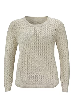 6230610f97c Beige 100% Cotton Cable Knit Fishermans Style Jumper Sweater Plus Sizes 20  22 24 26 28 30 (28)  Amazon.co.uk  Clothing