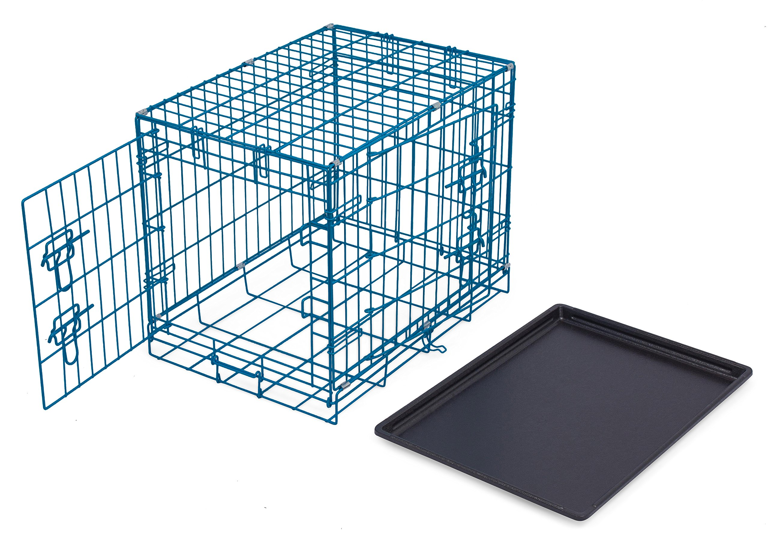 Internet's Best Double Door Steel Crates Collapsible and Foldable Wire Dog Kennel, 24 Inch (Small), Blue by Internet's Best (Image #5)