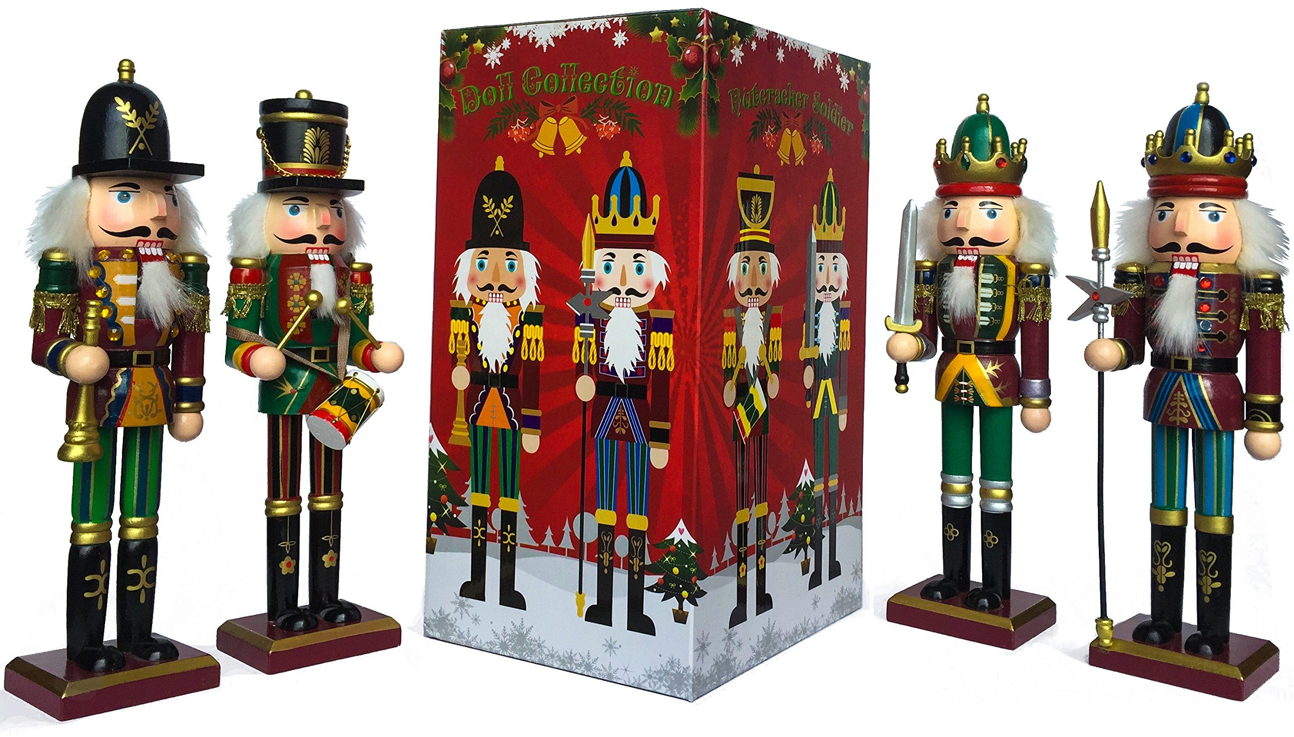 Nutcracker Soldiers Gift Set from Spring Country | Great Decoration Figure Collection to Share a Memory with | Christmas | New Wooden Puppets | 12 inch Toys Holiday Ornament | 4 Pieces Toy Set by Spring Country